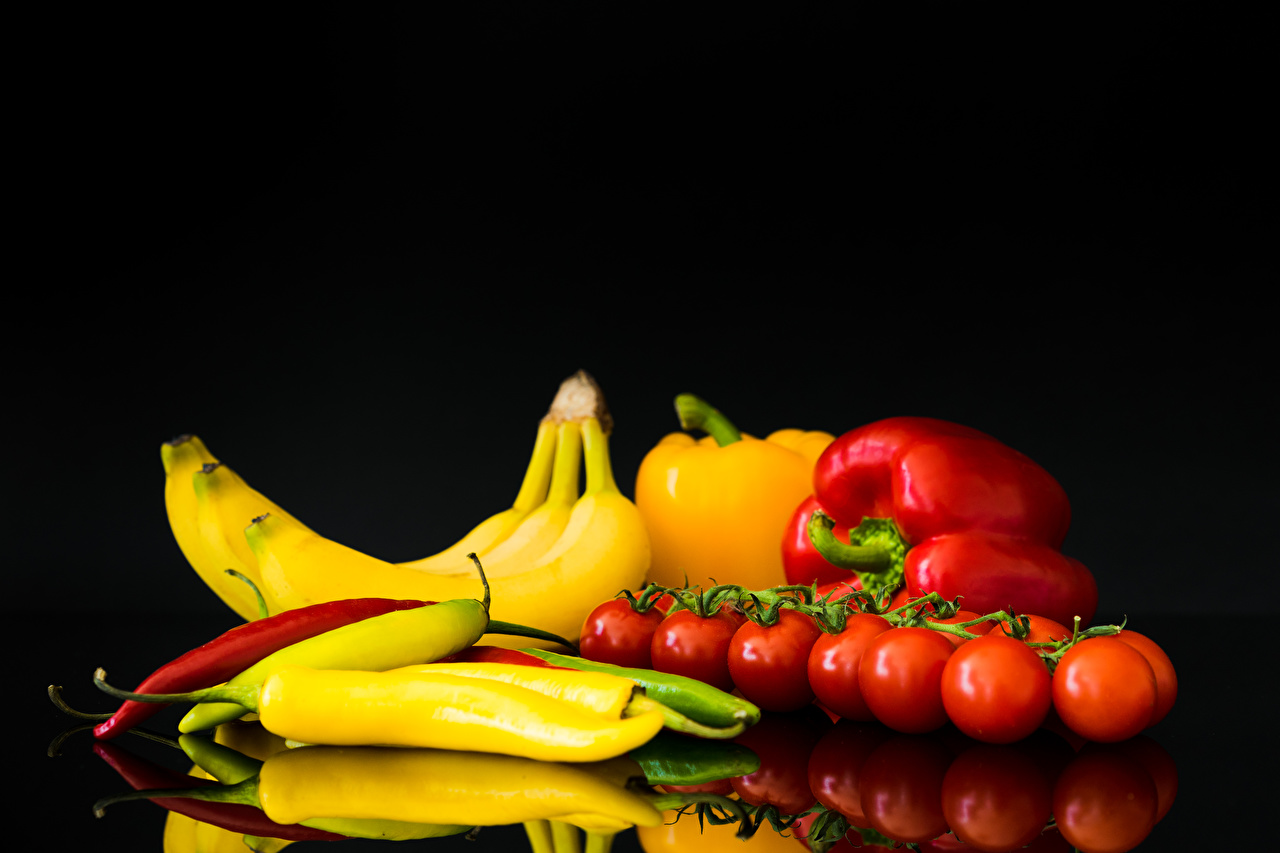 Picture Tomatoes Chili pepper Bananas Food Bell pepper
