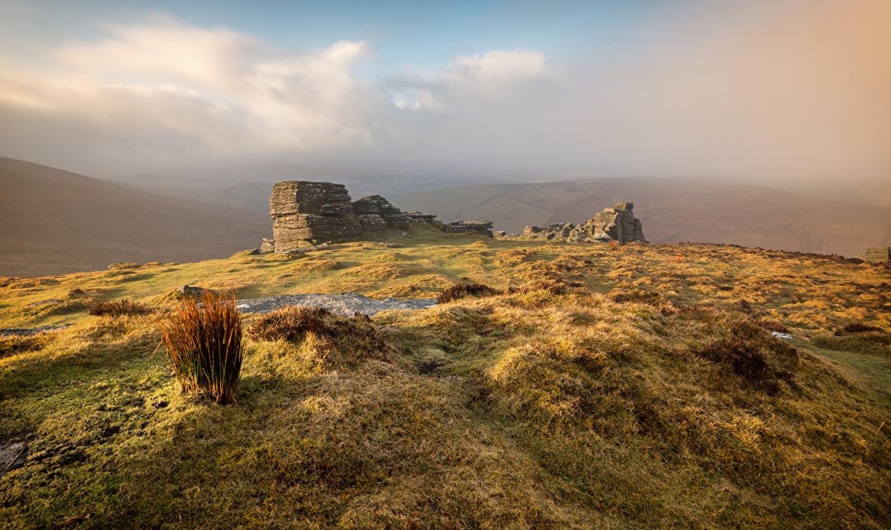 Fotos von England Dartmoor Natur Ruinen Hügel Steine Stein
