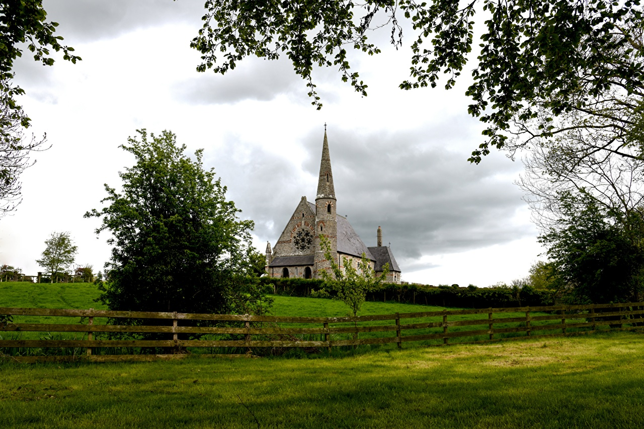 Photos Church Ireland Ballyclog Fence Grass Branches Cities