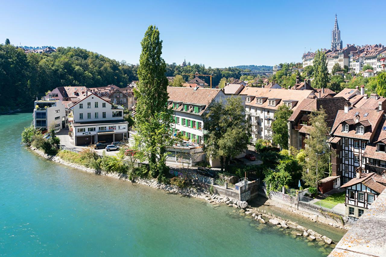 Desktop Wallpapers Switzerland Bern, river Aare Coast Houses Cities Rivers Building