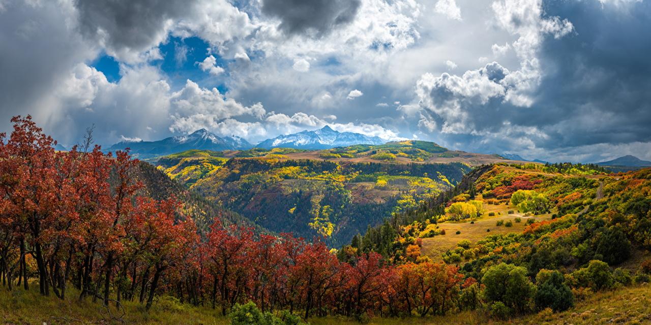 Bilder Vereinigte Staaten Panorama Colorado Natur Herbst Gebirge Landschaftsfotografie Wolke USA Panoramafotografie Berg