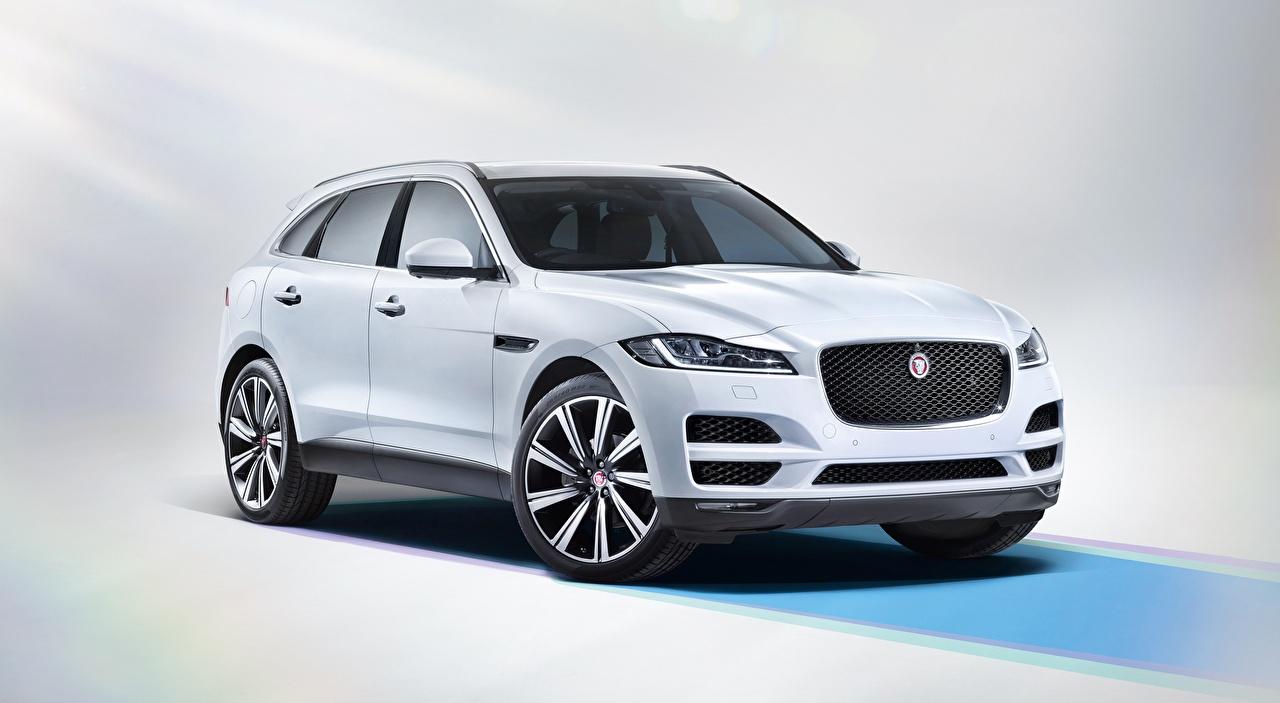 Desktop Hintergrundbilder Jaguar Softroader F-Pace, Portfolio 20d AWD, UK-spec, 2016 Weiß automobil Crossover auto Autos