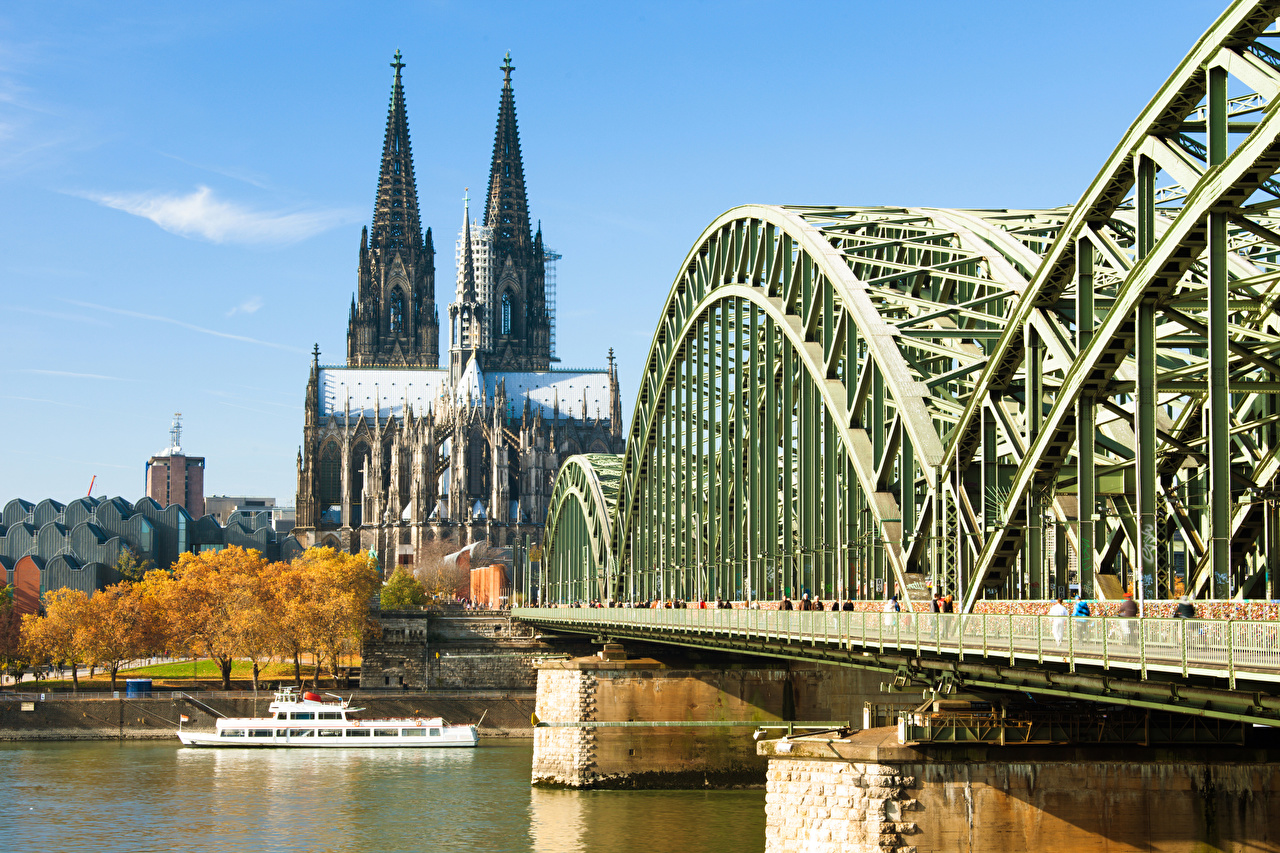 Photos Cathedral Germany Cologne Cathedral, Rhine Bridges Riverboat Rivers Cities bridge river