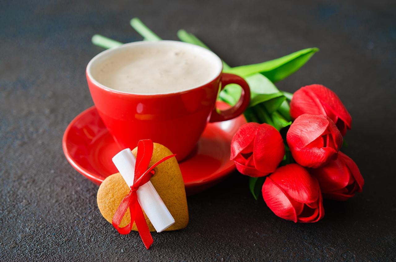 Fotos Valentinstag Herz Tulpen Blüte Kekse Tasse Blumen