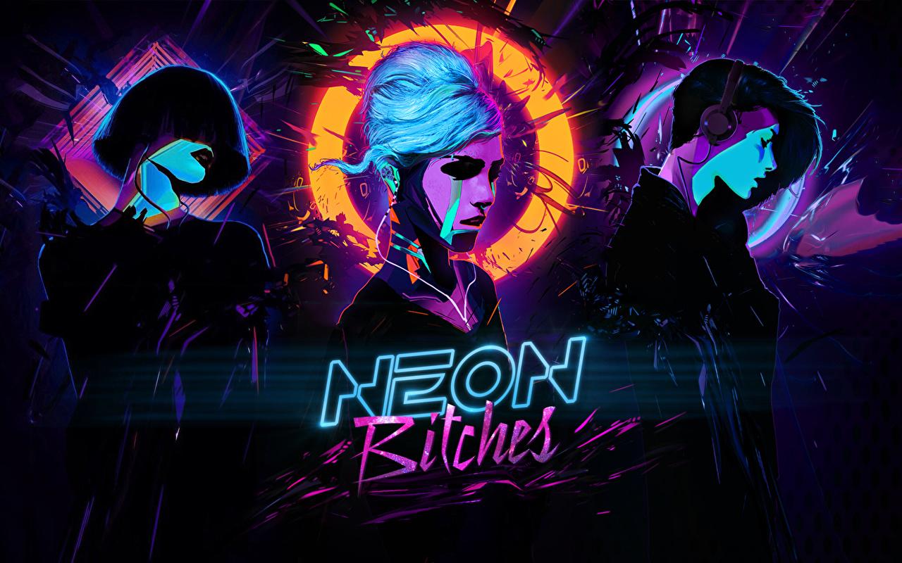 壁紙 ロゴエンブレム シンセウェイヴ Neon Bitches Synthwave Music Cyberpunk 顔 サイバーパンク 音楽 少女 ダウンロード 写真