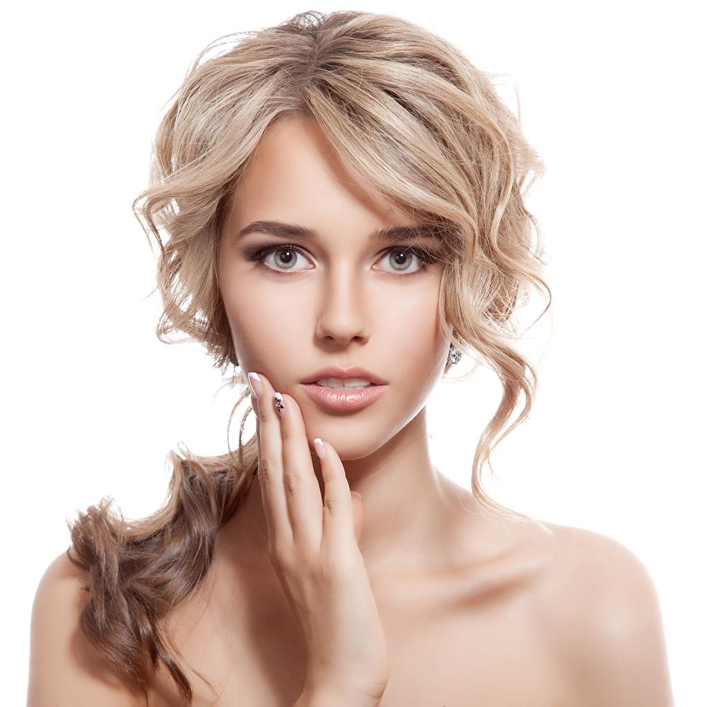 Foto Dunkelbraun Blond Mädchen Model Make Up schöne Gesicht junge frau Hand Blick Weißer hintergrund Blondine Schminke Schön hübsch hübsche schöner schönes hübscher Mädchens junge Frauen Starren