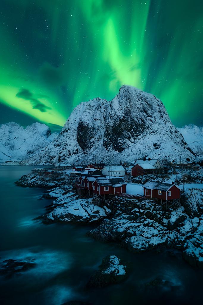 Images Lofoten Norway northern light Nature mountain  for Mobile phone Aurora polar light Mountains