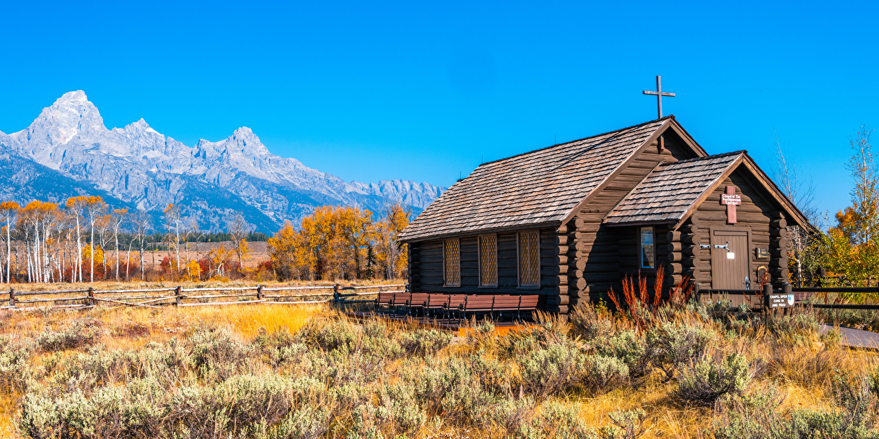 Wallpaper Church USA Wyoming, Grand Tetons National Park Autumn Nature mountain park Cross from wood Mountains Parks Wooden