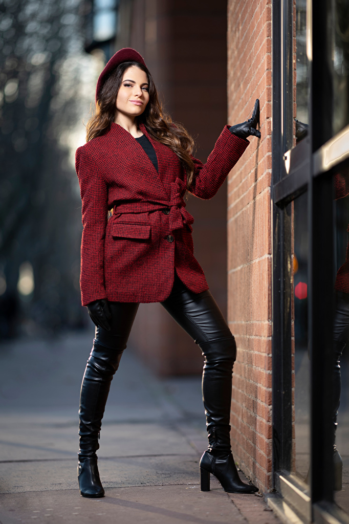 Images Wearing boots Ambre Beret posing Coat Girls Staring  for Mobile phone Pose overcoat female young woman Glance
