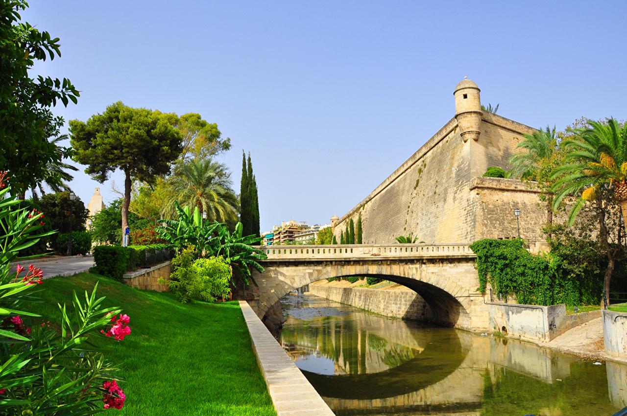 Skrivebordsbakgrunn Spania Festning Palma de Mallorca, Balearic Islands Broer Kanal farvann Byer en bro byen en by