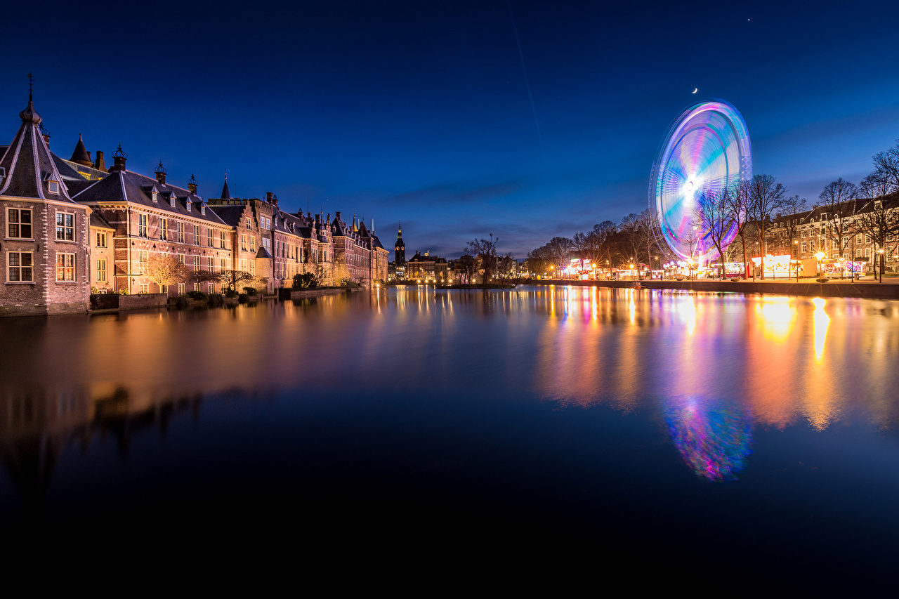 Photo Netherlands Hague Canal Ferris wheel night time Street lights Houses Cities Night Building