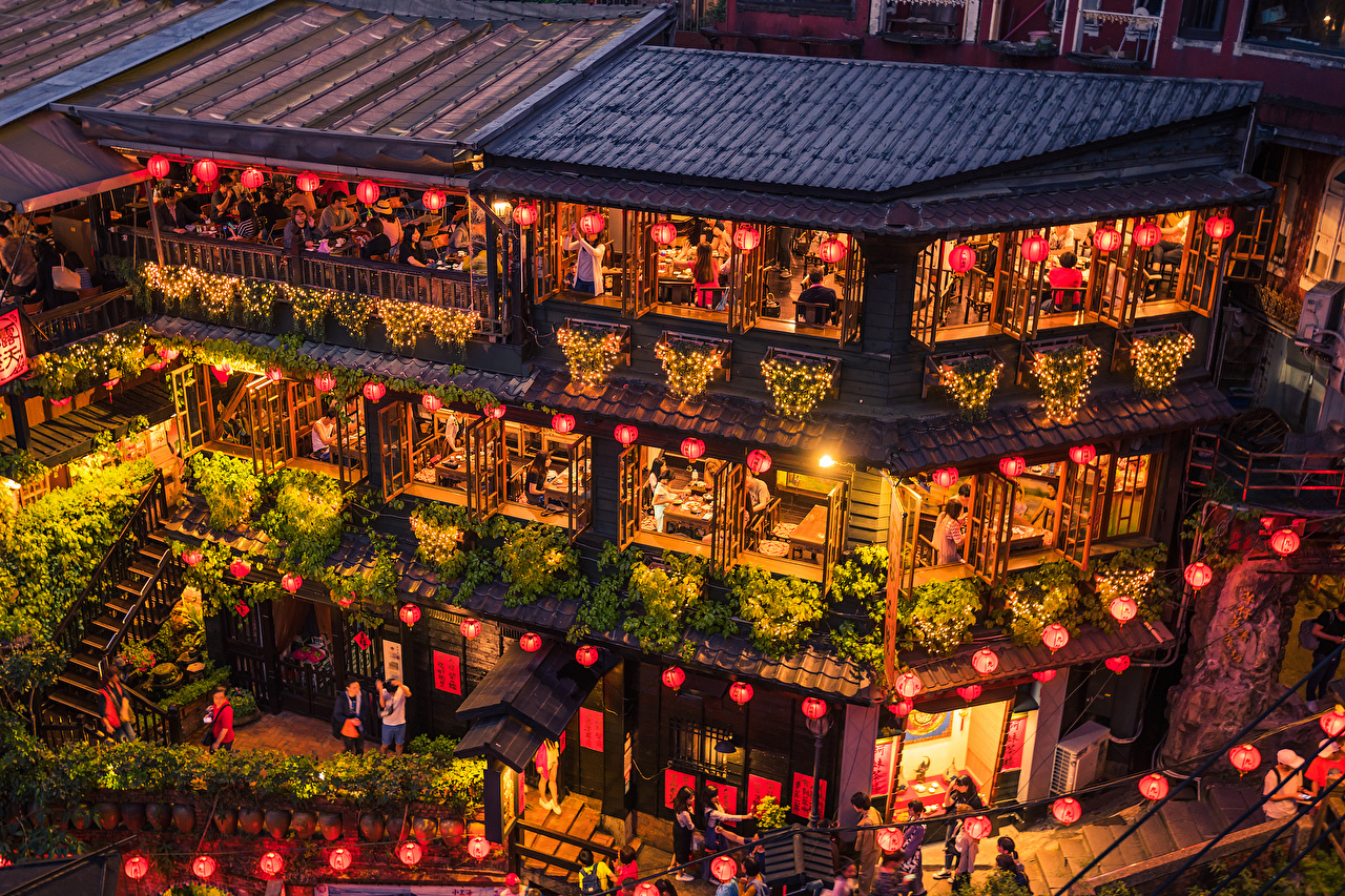 Pictures Taiwan New Taipei Cafe Evening Fairy lights Street lights Houses Cities Design Building