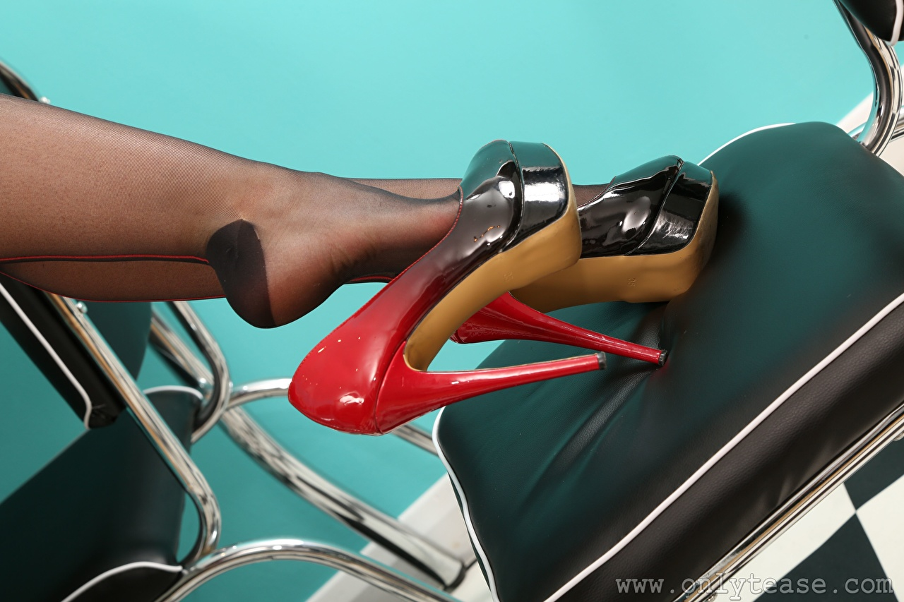 Image Pantyhose young woman Legs Chairs Closeup high heels Girls female Chair Stilettos
