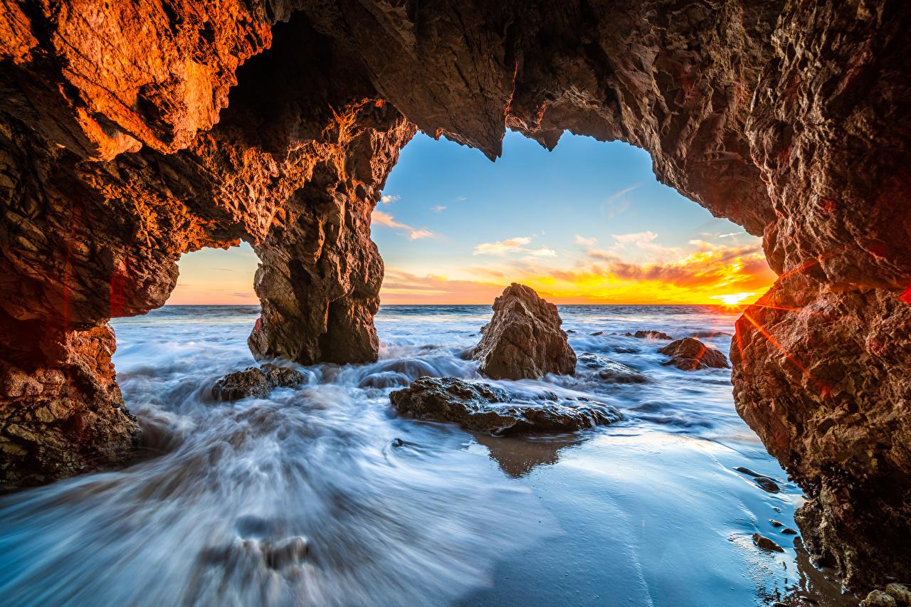 Pictures California USA Arch El Matador Beach Rock Ocean Nature Coast Crag Cliff