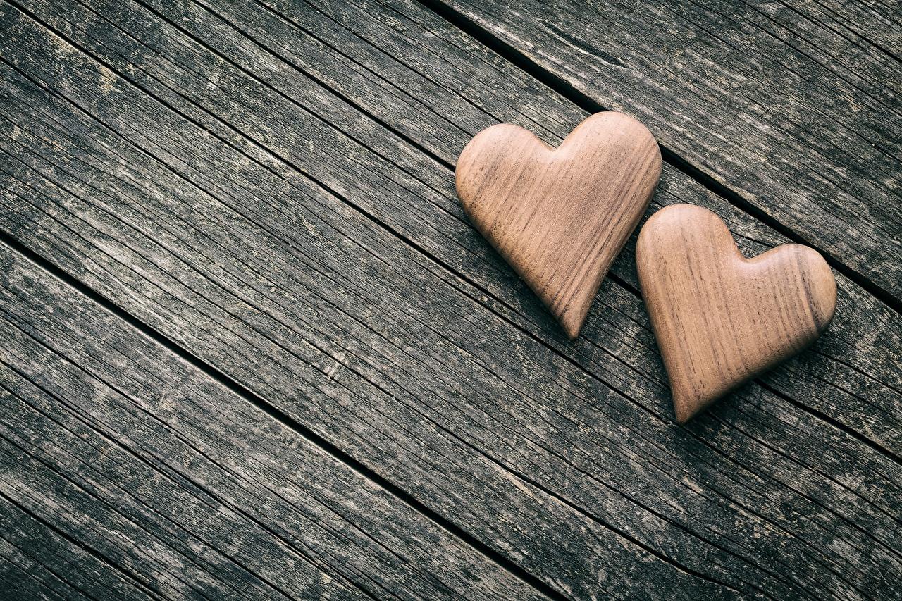 、バレンタインデー、木製、ハート、2 二つ、、