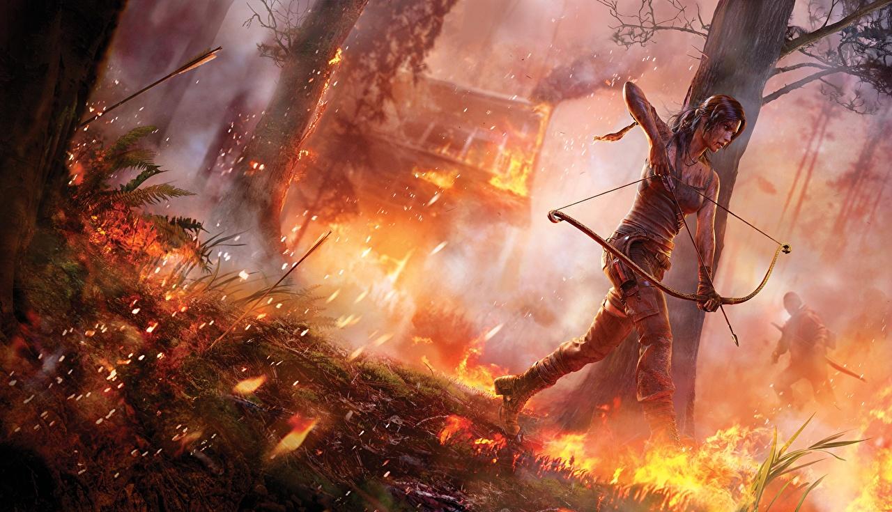 Desktop Hintergrundbilder Tomb Raider Tomb Raider 2013 Bogenschütze Lara Croft junge frau computerspiel Mädchens junge Frauen Spiele