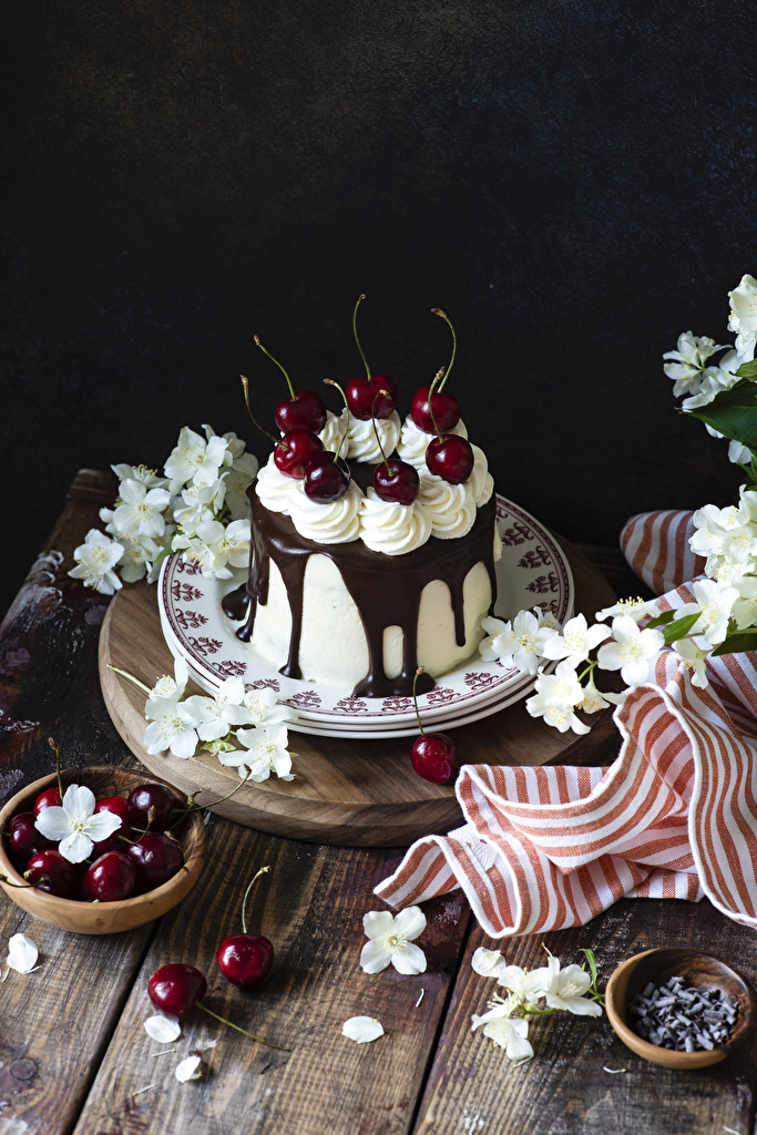 Desktop Wallpapers Chocolate Cakes Cherry Food Plate  for Mobile phone Torte