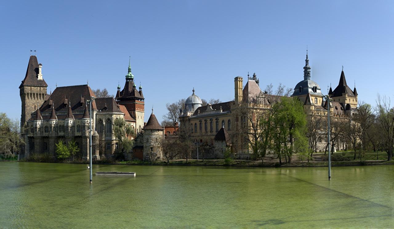 Desktop Wallpapers Budapest Hungary Vajdahunyad Castle, Varoshliget Castles Parks Cities castle park