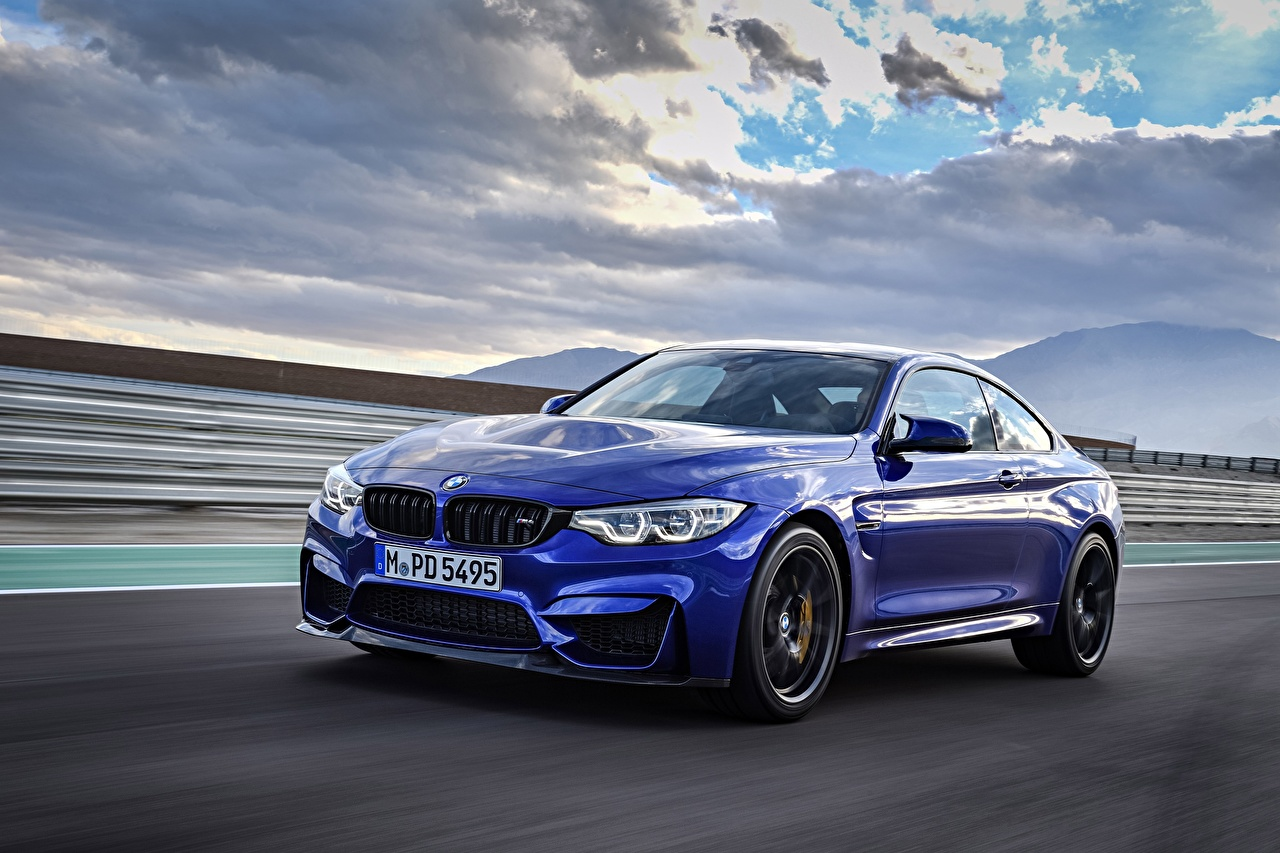 Images BMW M4 CS Blue Motion automobile moving riding driving at speed Cars auto
