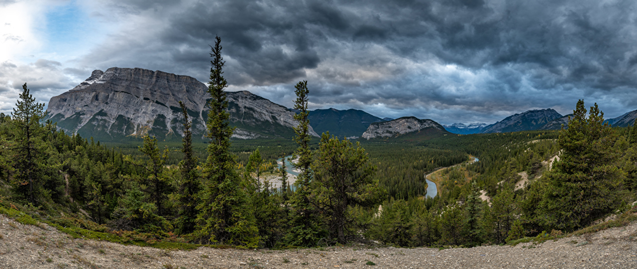 Images Nature panoramic Canada Alberta Banff Mountains Parks forest landscape photography Rivers Panorama mountain park Forests Scenery river