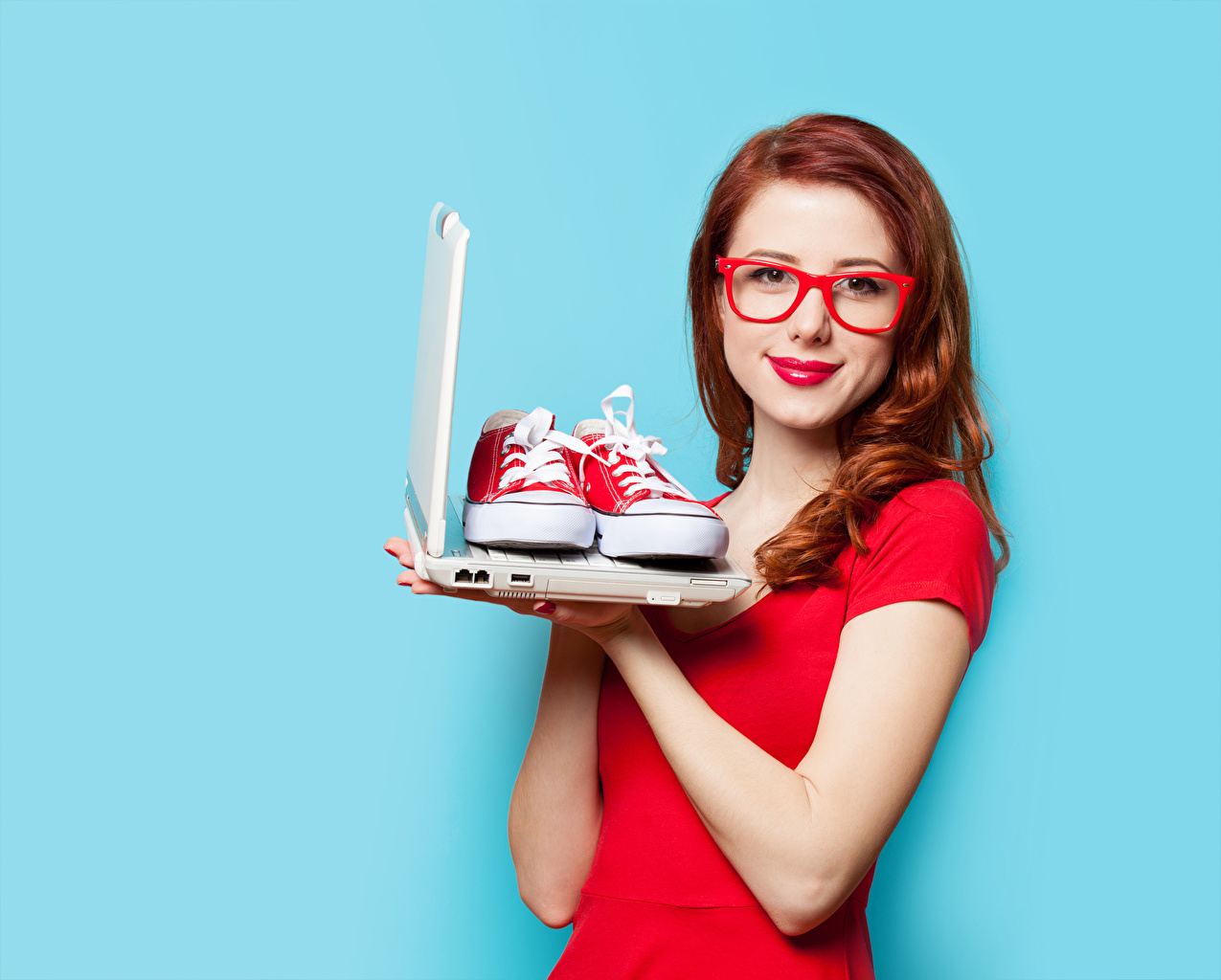 Picture Laptops Redhead girl Plimsoll shoe Girls Glasses Staring Red lips Colored background female young woman eyeglasses Glance