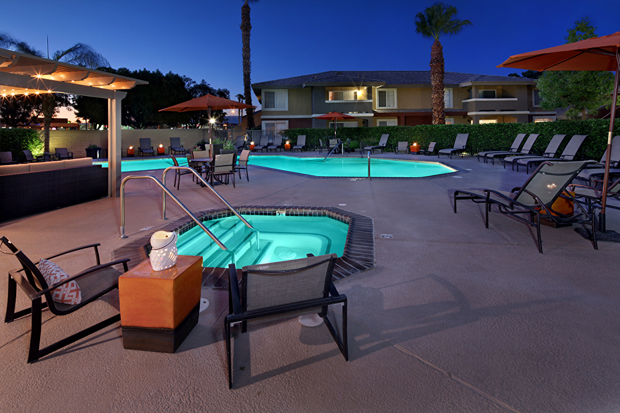 Desktop Wallpapers Pools Interior Night Sunlounger Design Swimming bath night time