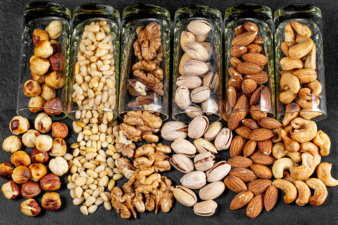 Image Almond Walnut filbert nut Food Shot glass Nuts cobnut Hazelnut