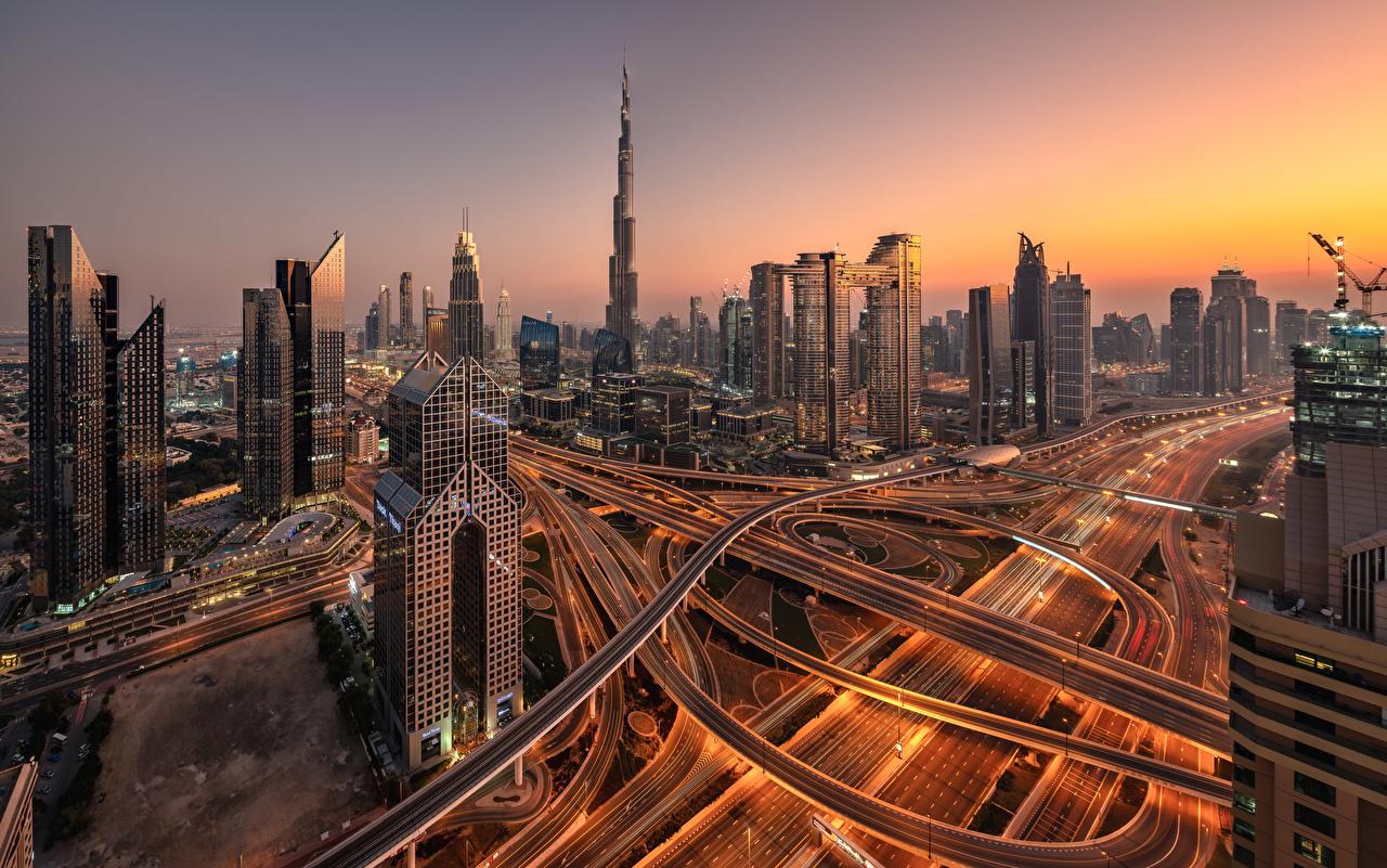 Picture Dubai Emirates UAE skyline Roads Skyscrapers Houses Cities Building