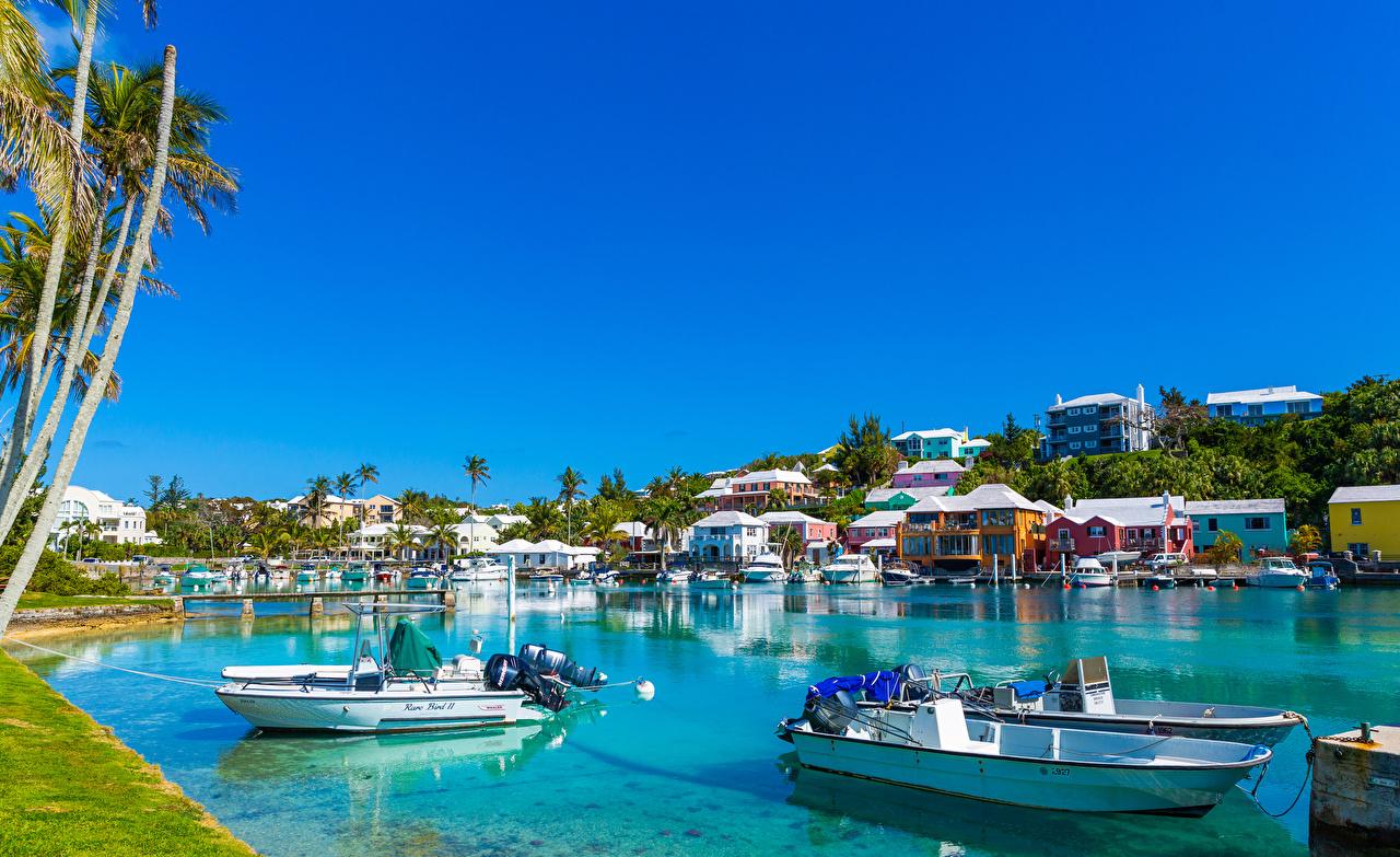 Picture Harrington Sound Flatts Village Bermuda Bay Boats Marinas Houses Cities Pier Berth Building