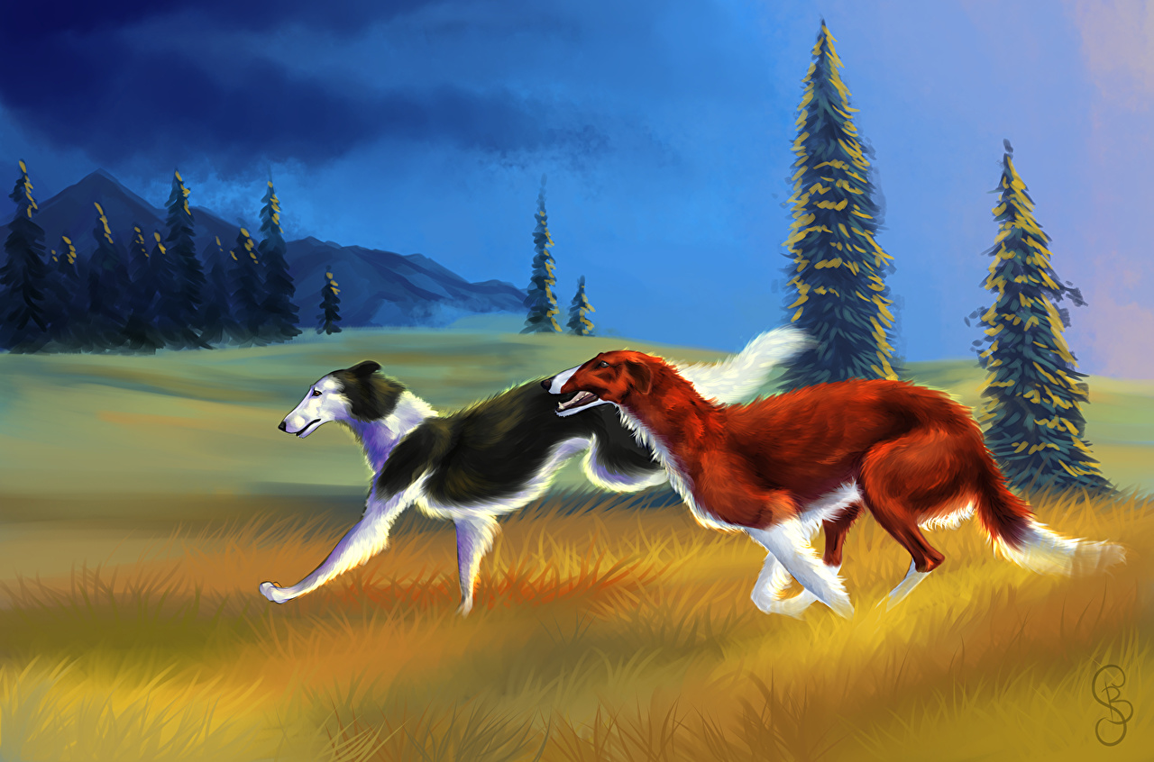 Photos Sighthound dog Run Two Grass Animals Painting Art Dogs Running 2 animal