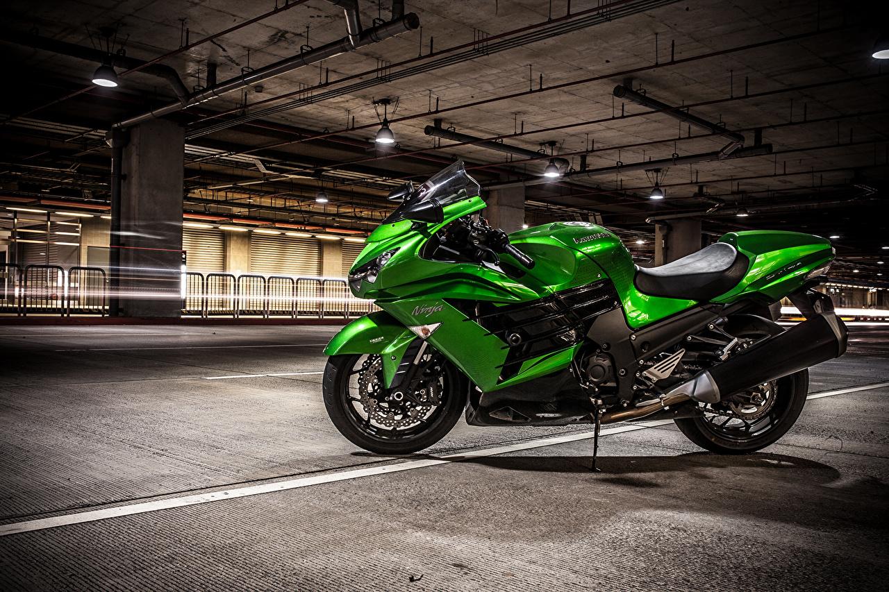 Fonds D Ecran Kawasaki Parking Vert Motocyclette Telecharger