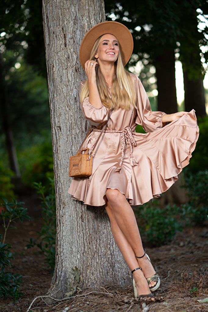 Desktop Wallpapers Olga Clevenger Blonde girl Modelling Smile Hat young woman Legs Trunk tree frock  for Mobile phone Model Girls female gown Dress