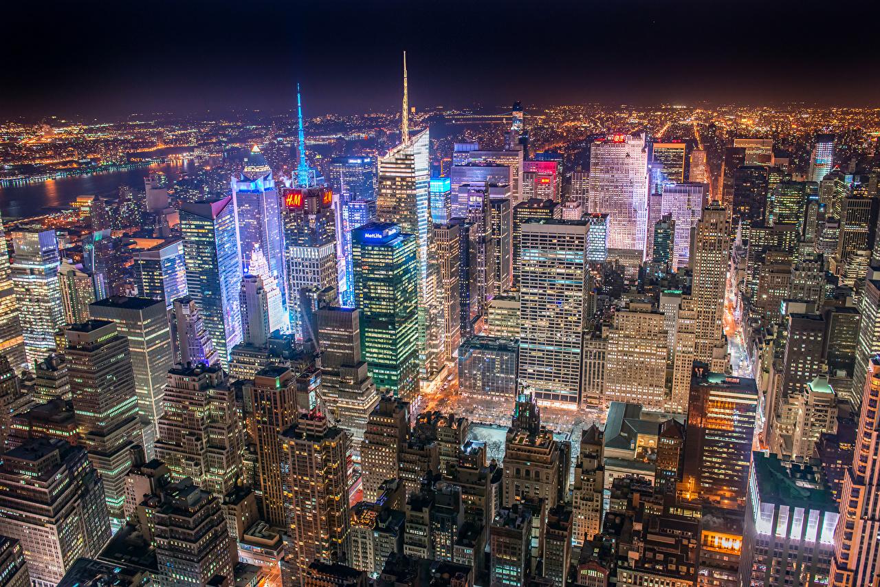 Fonds Decran Usa Gratte Ciel New York Nuit Mégalopole