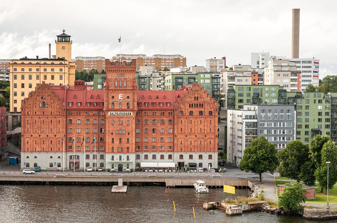 Bilder Stockholm Schweden Bucht Seebrücke Städte Gebäude Bootssteg Schiffsanleger Haus