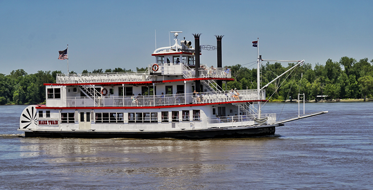 Image USA Misissippi River, Mark Twain Riverboat Retro Ships vintage antique ship