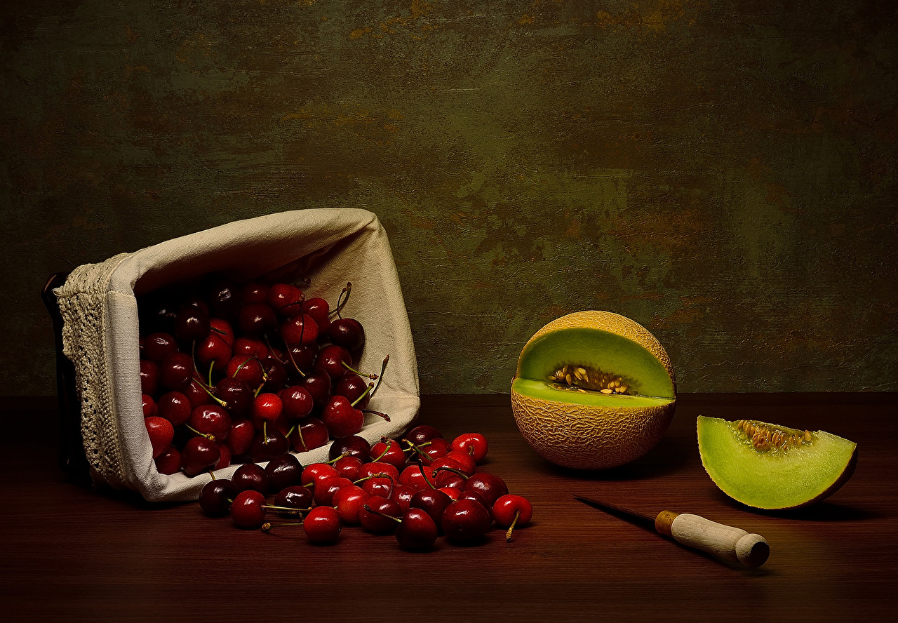 Photos Knife Cherry Melons Wicker basket Food