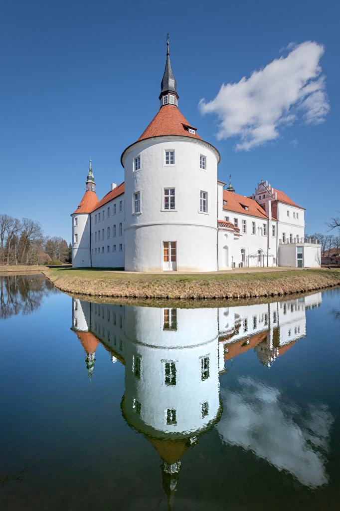 Alemania Castillo Estanque Torre Reflejo torres, reflejado Ciudades para móvil Teléfono
