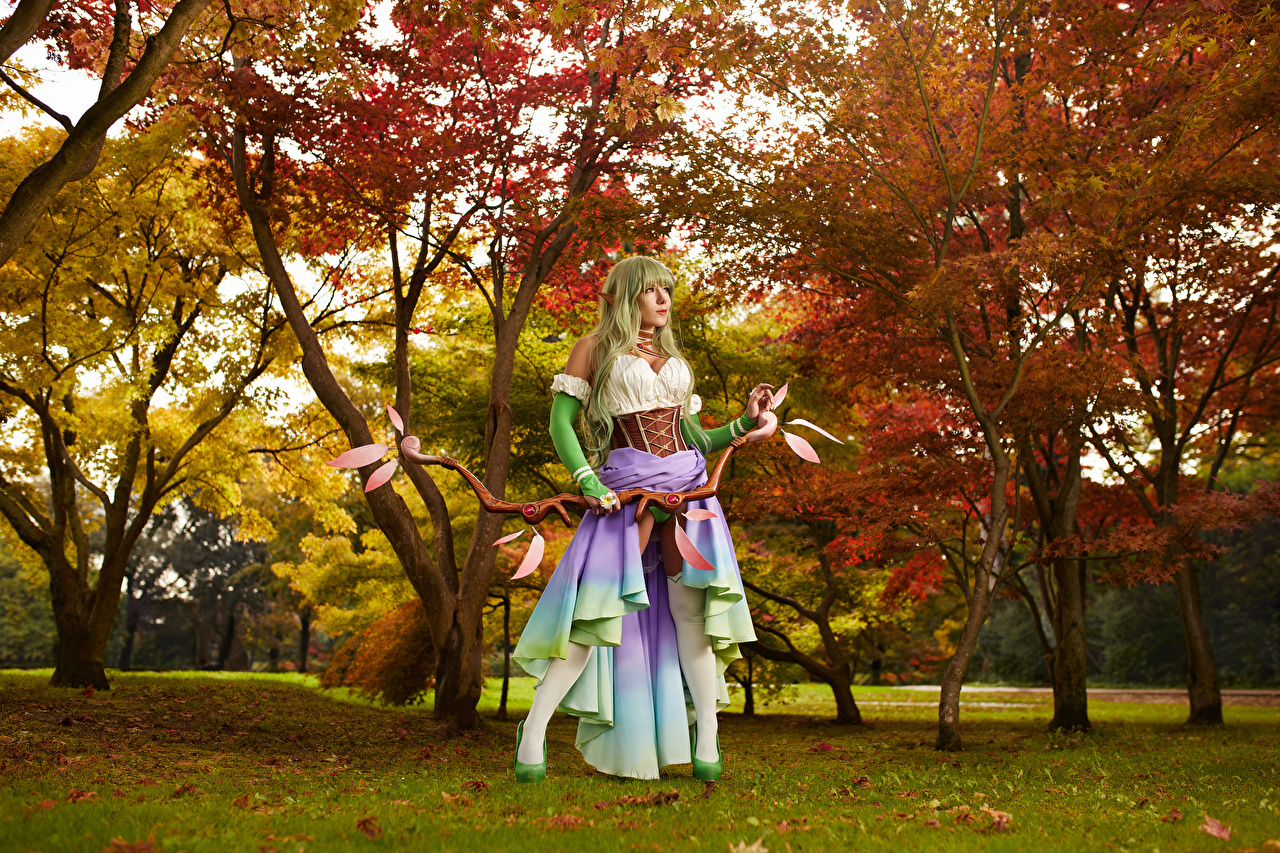 Photos Mikhail Davydov photographer warrior Bow weapon cosplayers Rena Pose female Fantasy Trees Glance Warriors Cosplay costume play posing Girls young woman Staring