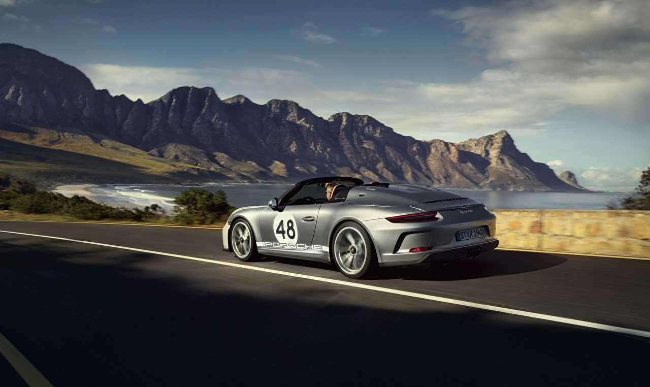 Wallpaper Porsche 911 Speedster 2019 Roadster Silver color Motion Cars moving riding driving at speed auto automobile