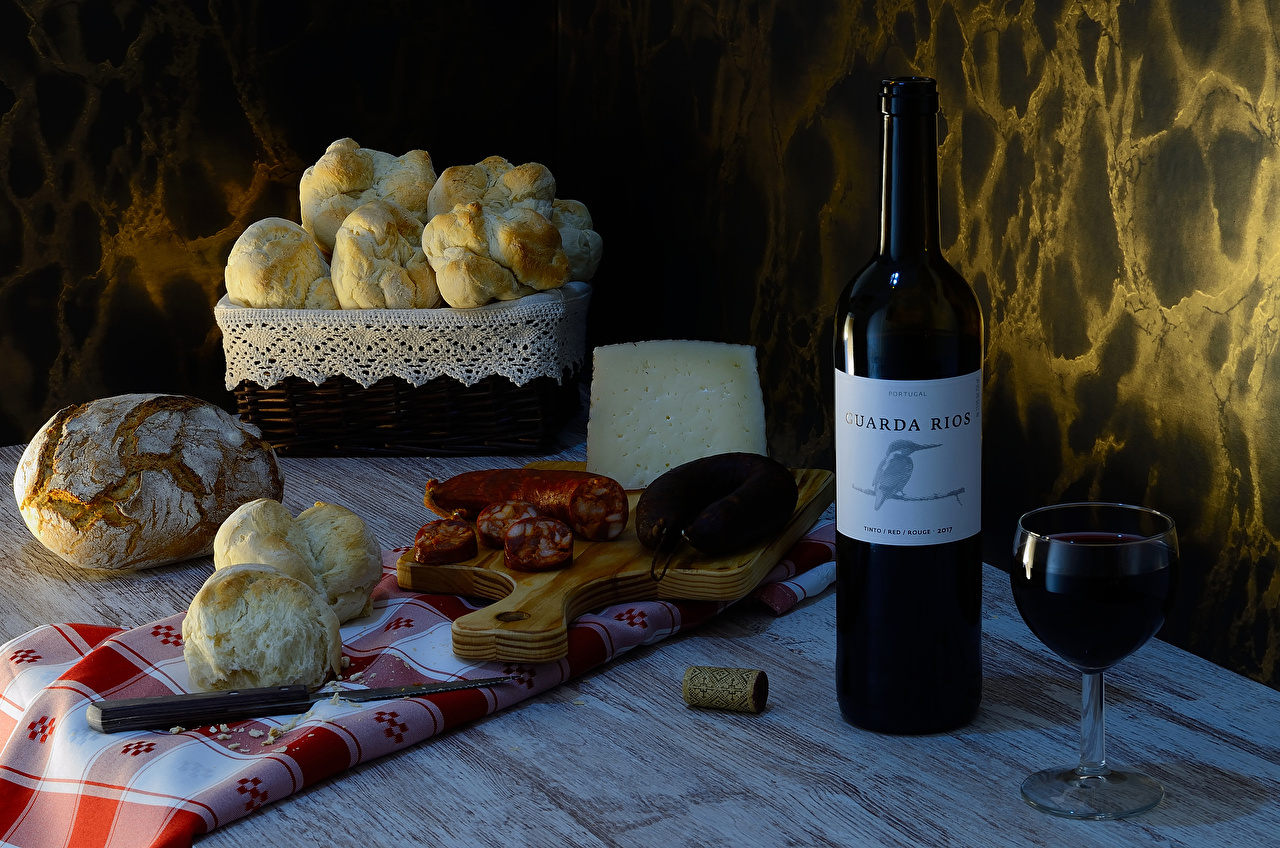Picture Wine Sausage Buns Bread Cheese Food bottles Stemware Cutting board Still-life Bottle