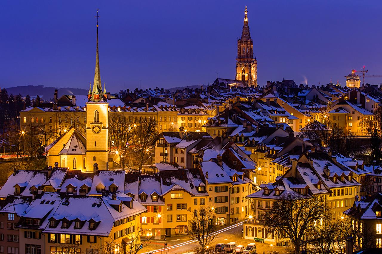 Immagini Berna Svizzera Inverno Notte Lampioni Città La casa Di notte notturna edificio