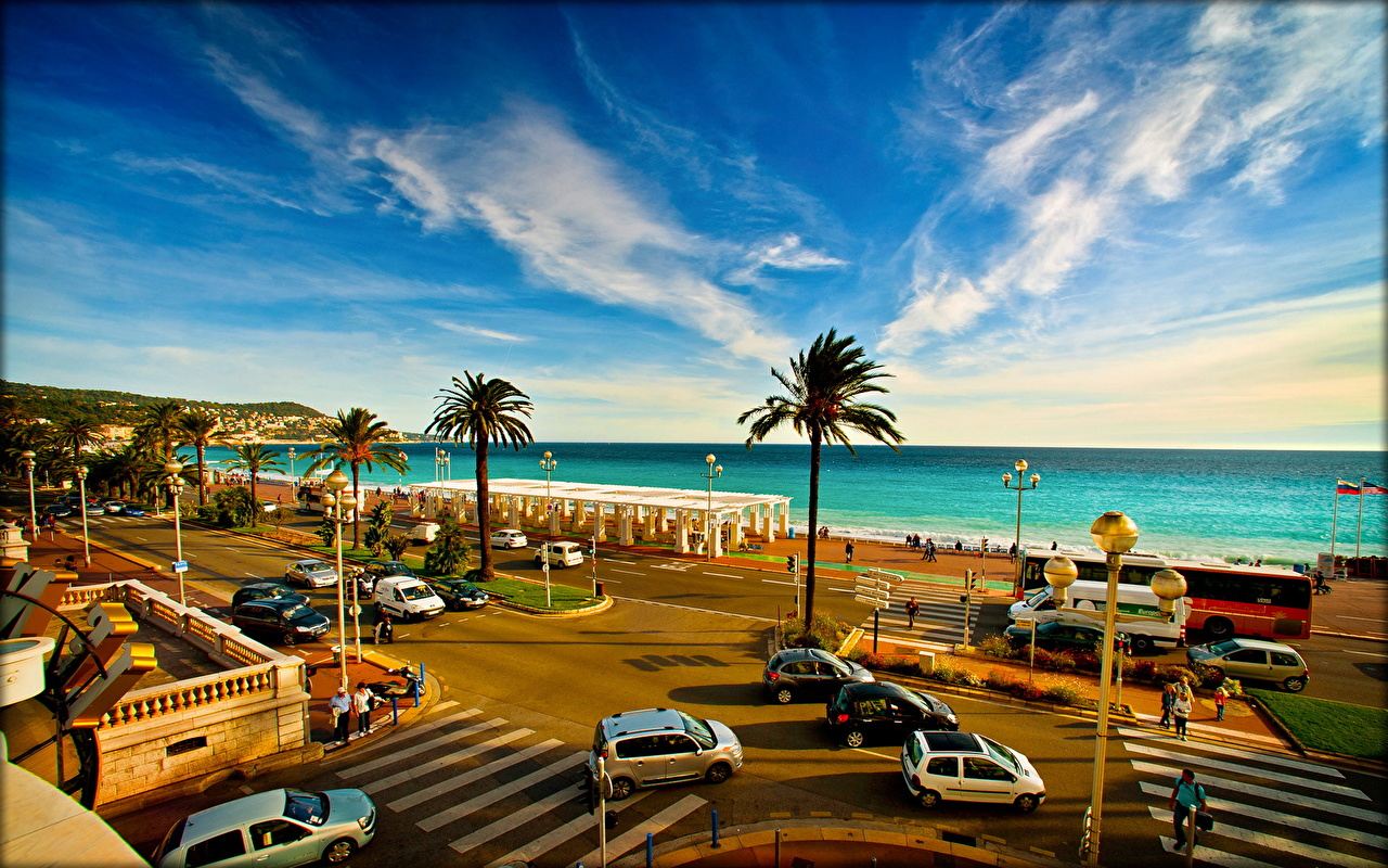 Images France Spa town French Riviera Nice Sky Roads palm trees Coast Clouds Cities Resorts Palms