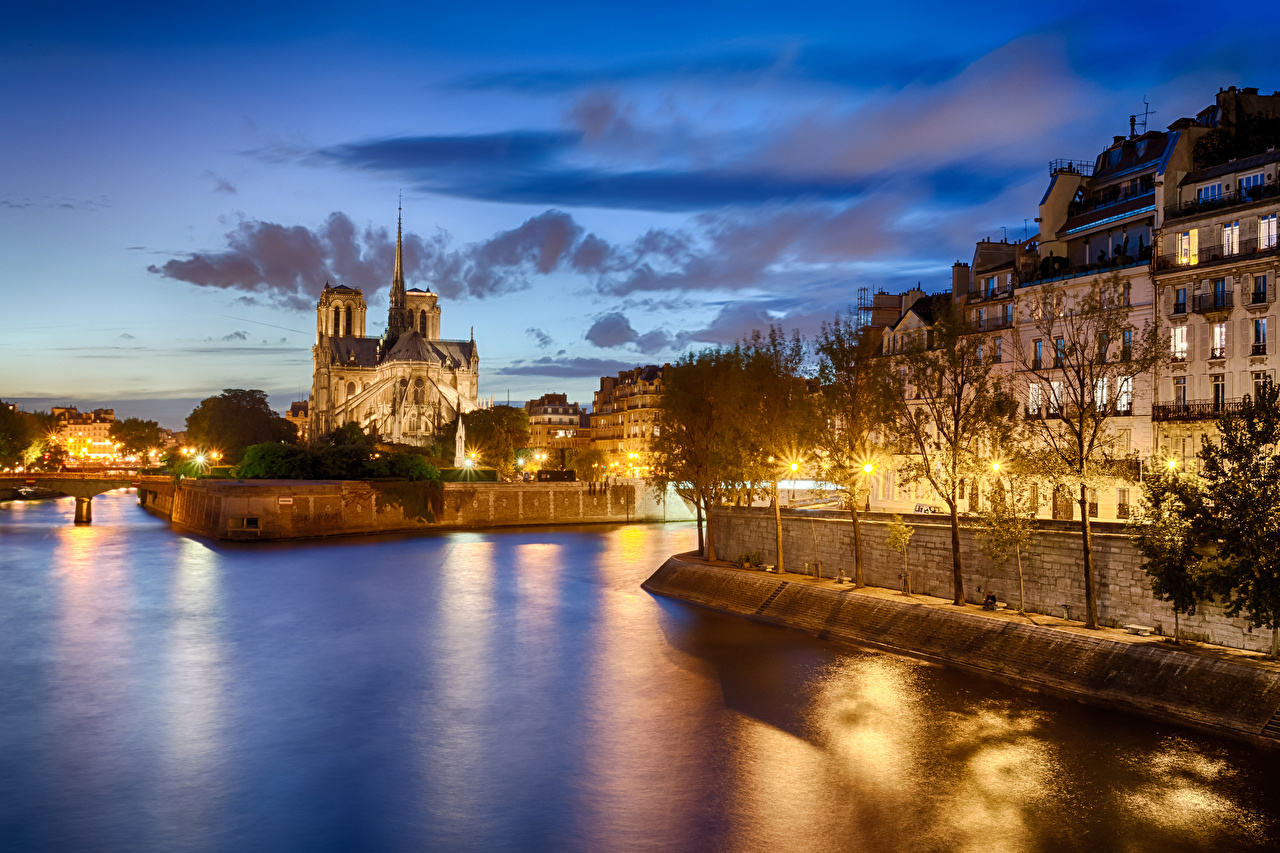 Desktop Wallpapers France Notre Dame De Paris Night Cities