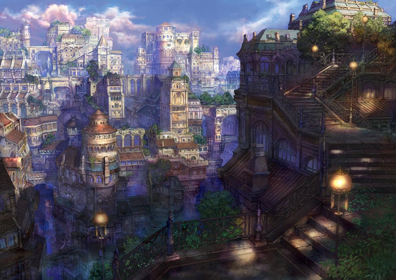 壁紙 住宅 幻想的な世界 Munashichi アニメ 都市 ファンタジー