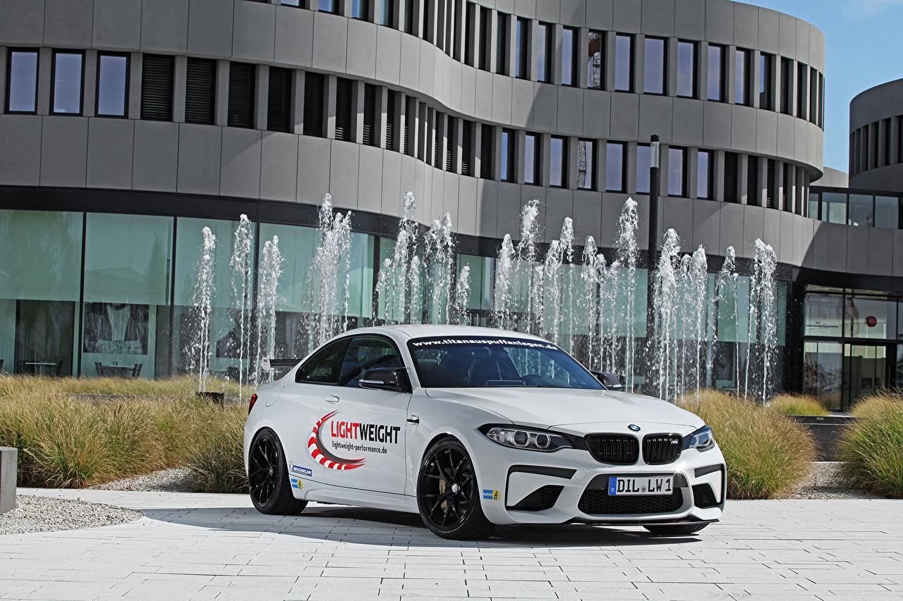 Sfondi del desktop Tuning 2016 Lightweight Performance BMW M2 Bianco macchina Auto macchine automobile autovettura