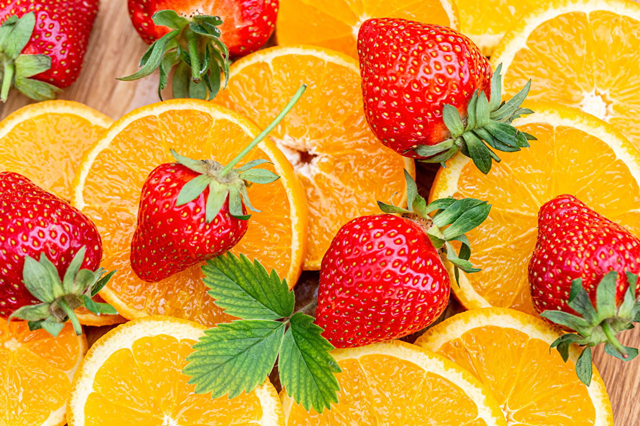 Desktop Wallpapers Orange fruit Strawberry Food Closeup