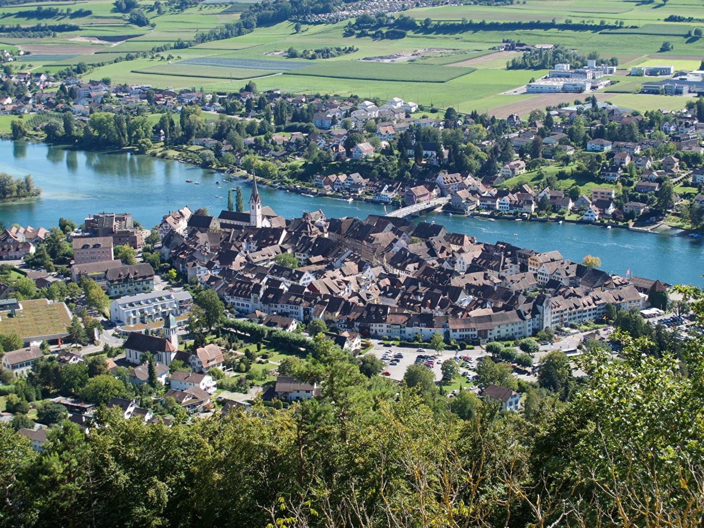 Pictures Switzerland Stein Am Rhein, Rhine river, Canton of Schaffhausen bridge Rivers From above Houses Cities Bridges river Building