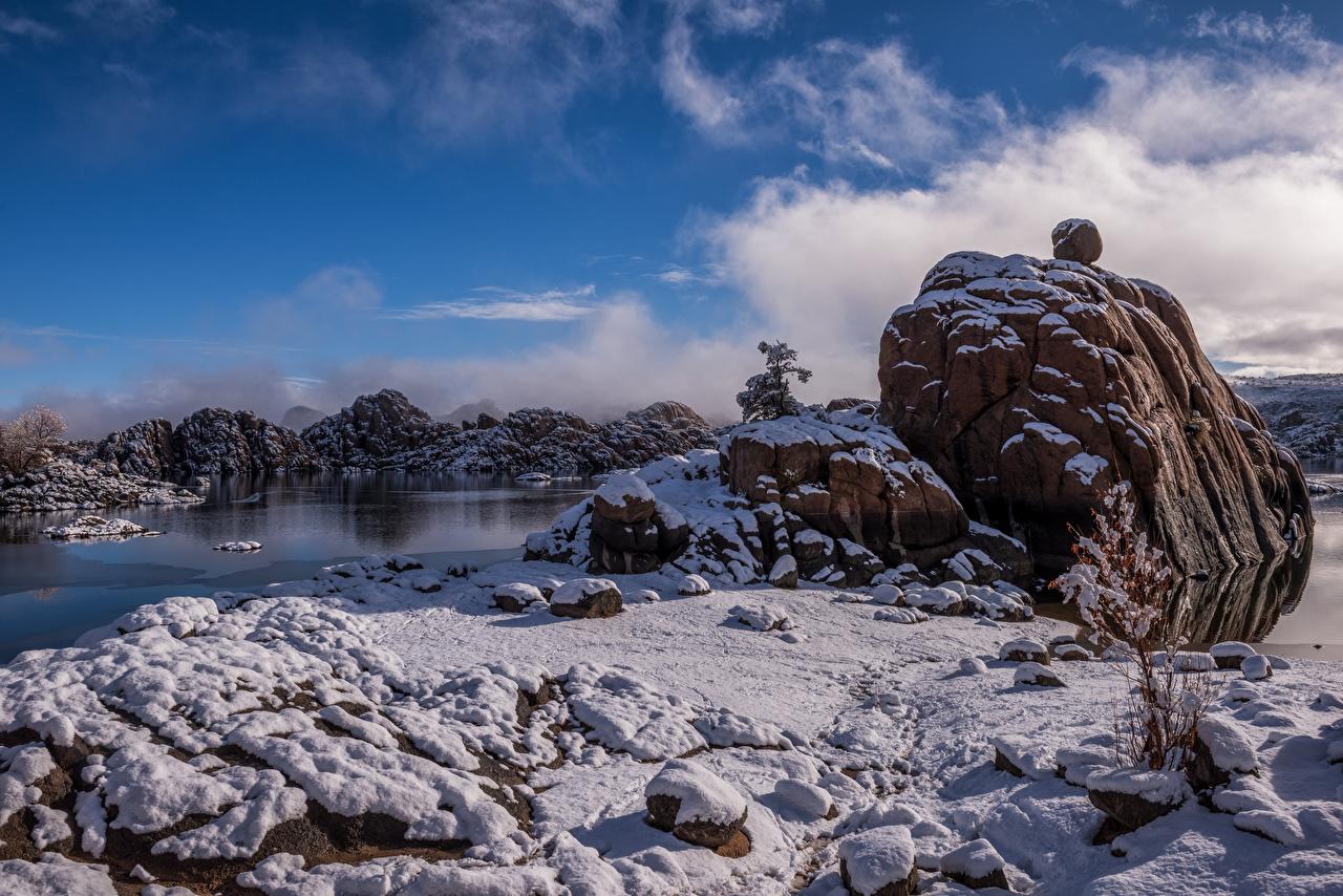 Desktop Wallpapers USA Prescott Winter Nature Snow Stones Clouds stone