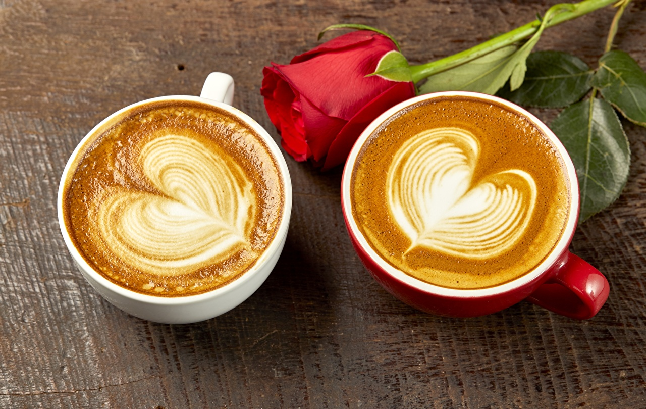 Images Valentine's Day Heart Two Roses Cappuccino Cup Food 2 rose