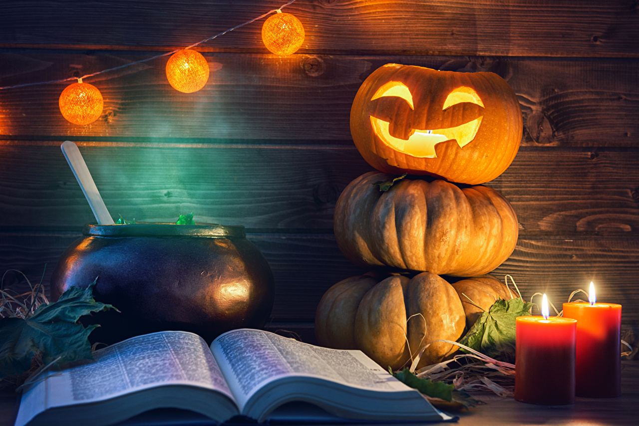 Photo Pumpkin Halloween Book Candles Fairy lights books